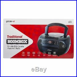 Groov-e Traditional Boombox Speaker, Portable CD & Cassette Player with FM Ra