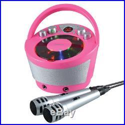 Groov-e Tragbar Karaoke Boombox CD Player & Bluetooth Wiedergabe pink gvps923pk