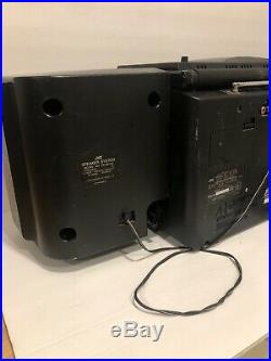 JVC PC-X100 AM FM Dual Cassette CD Portable System Player Boombox Hyper-Bass