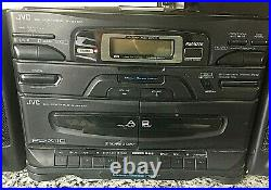 JVC PC-X110 CD Player Portable System AM/FM Radio Dual Cassette Boombox TESTED