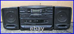 JVC PC X110 Portable CD Cassette Player AM/FM Radio Boombox Removeable Speakers