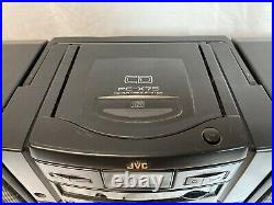 JVC PC-X75 CD Dual Cassette Tuner Portable Player Recorder Boombox Tested