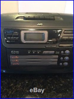 jvc rc xc1 am fm 3 disc cd changer cassette player boombox. Black Bedroom Furniture Sets. Home Design Ideas