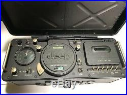 Jeep BLACK Boom Box Stereo AM FM WB CD Cassette Radio Player Portable Boom Box