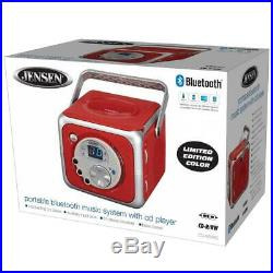 Jensen CD-555 Red CD Bluetooth Boombox Portable Music System with Player