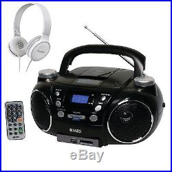 Jensen CD750 Portable AM/FM Stereo CD, MP3, Player with White On-Ear Headphone