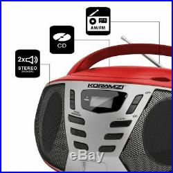 KORAMZI Portable CD Boombox w AMFM Radio, AUX IN, Top Loading CD Player, Telescopi