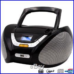 Lauson Cd-Player Boombox Stereo Portable Radio USB MP3 Headphone Jack Black NEW