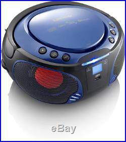 Lenco Boombox Scd-550 Blue Tragbar Mit Discolichteffekt, Fm Radio, Usb Playback