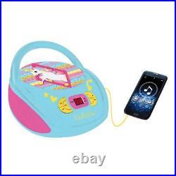 Lexibook RCD108UNI Portable Pretty Unicorn Graphics Boombox FM Radio CD Player