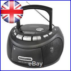 Lloytron Portable Stereo CD and Tape Player with AM FM Radio Matt Black