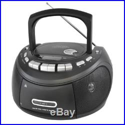 Lloytron Portable Stereo CD and Tape Player with AM and FM Radio Matt Black