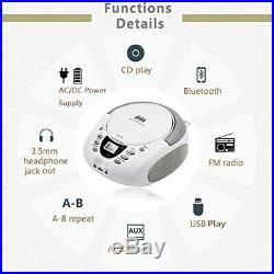 Lonpoo Compact CD Boombox Portable Stereo Sound Speaker CD Player with FM