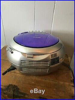 Memorex Boombox Portable CD Player AM FM Stereo Radio Cassette Recorder Purple