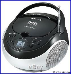 NAXA PORTABLE CD/MP3 PLAYER BOOMBOX AM/FM RADIO AC/DC AUX-IN BLACK NEW