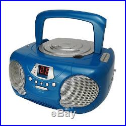 New Groov-e Boombox Portable CD Player With Radio And Headphone Jack Blue