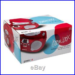 New Groov-e Boombox Portable CD Player With Radio And Headphone Jack Red