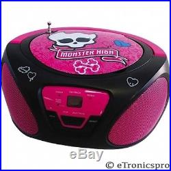 NEW MONSTER HIGH PORTABLE CD BOOMBOX RADIO AUX INPUT for MP3 PLAYER PINK GIRL'S