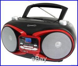 NEW SUPERSONIC SC-504 RED PORTABLE MP3/CD PLAYER with USB AUX INPUT AM/FM RADIO