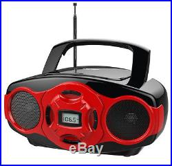 Naxa NPB-264 Portable Mini MP3/CD Boombox with AM/FM Radio and USB Player Red