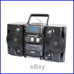 Naxa NPB-428 Portable Boombox AM/FM Radio MP3/CD Player & Cassette Recorder