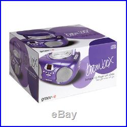 New Groov-e Boombox Portable CD Player With Radio And Headphone Jack Purple