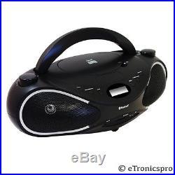 PORTABLE BLUETOOTH CD MP3 PLAYER SPEAKER SYSTEM USB SD INPUT FM RADIO BOOMBOX
