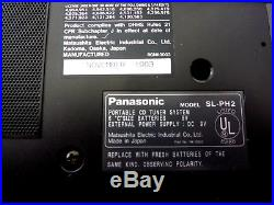 Panasonic SL-PH2 Portable CD Player AM/FM Tuner & Clock System Made in Japan