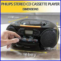 Philips AZ328 Stereo CD Cassette Player, Portable Boombox, USB, FM, MP3, Tape