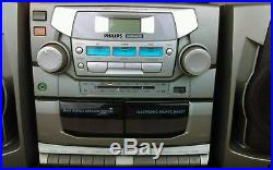 Phillips AZ2750 Portable Boombox CD Player Stereo Dual Cassette System