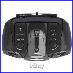 Portable Black CD MP3 Player With AM/FM Radio Bluetooth Boombox Stereo System