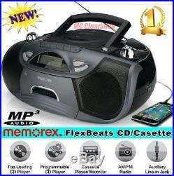 Portable Boombox CD Cassette MP3 Player Recorder AM FM Radio Digital Aux Audio
