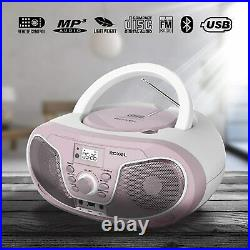 Portable Boombox CD Player with Bluetooth, Remote FM Radio Pink Ladies LED