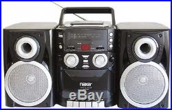 Portable CD Player AM/FM Stereo Radio Cassette Recorder Twin Detachable Speakers