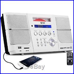 Portable CD Player, Compact Stereo Boombox with FM Radio Alarm Clock USB Aux-in