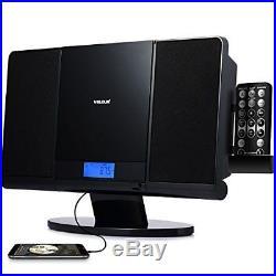 Portable CD Player Slim Boombox with USB SD Card FM Radio Clock Mp3 Player