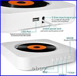 Portable CD Player with Bluetooth, Wall Mountable Built-in HiFi Speakers, Home Au