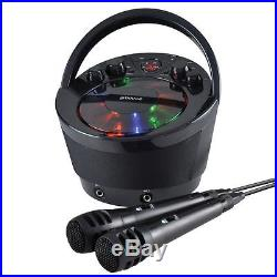 Portable Karaoke Boombox with CD Player and Bluetooth Playback Black