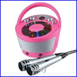 Portable Karaoke Boombox with CD Player and Bluetooth Playback Pink