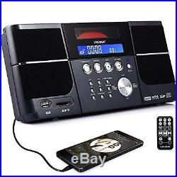 Portable Stereo CD Player Boombox FM Radio Clock USB SD and Aux Line-In for kids