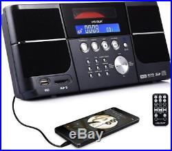 Portable Stereo CD Player VELOUR Boombox With FM Radio Clock USB SD And Aux For