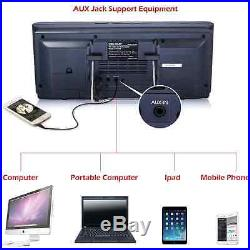 Portable Stereo CD Player VELOUR Boombox with FM Radio Clock USB SD and Aux Line