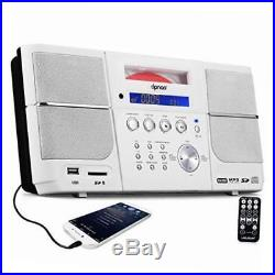 Portable white cd player boombox compact stereo with fm radio clock alarm usb sd