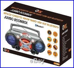 QFX J-50U Portable Jumbo Bluetooth Boombox Radio with MP3/CD Player & Cassette Rec