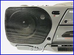 RCA Portable Boombox RP7962a CD Player AM/FM Cassette Player Equalizer Aux Inp