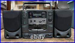 Rare Koss Hg921 Portable Boombox Am/fm CD Cassette Player Works See Description