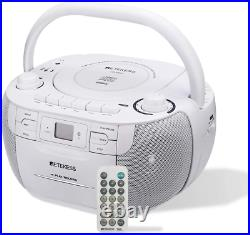 Retekess TR621 CD and Cassette Player Combo, Portable Boombox AM FM Radio, MP3 P