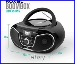 Roxel RCD-S70BT Portable Boombox CD Player with Bluetooth, Remote Black