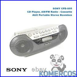 SONY CFD-S05, CD Player, AM/FM Radio, Cassette, AUX Portable Stereo Boombox