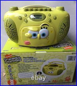 SPONGEBOB SQUAREPANTS Portable Radio Boombox AM FM Stereo Tape & CD Player New